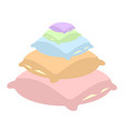 pillow stack set bed linen in white background vector image