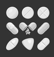 pills and drugs white realistic icon set on vector image