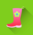 pink rubber boots icon in flat style on a white vector image vector image
