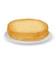 plate with pile pancakes sweet food 3d vector image