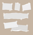 realistic empty torn paper notes with sticky tape vector image