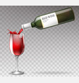 realistic wine bottle splashing in vector image