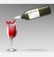 realistic wine bottle splashing vector image