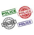 scratched textured police stamp seals vector image