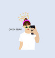 selfie slogan with girl taking selfie vector image vector image