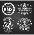 set bmx extreme sport club badge on chalkboard vector image vector image