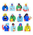 set doctors and nurses portraits isolated on vector image