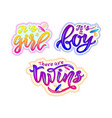 set of stickers with text its a boy girl there vector image