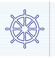 ship wheel sign navy line icon on vector image