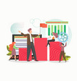 successful business man leader with red flag vector image