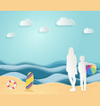 summer sea picture origami made paper mom and vector image