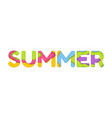 summer typography in trendy 3d paper cut effect vector image
