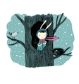 The story about a bunny tree and bird vector image