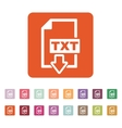 The TXT icon Text file format symbol Flat vector image vector image