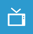 tv icon white on the blue background vector image vector image