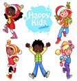 Very happy kids in winter clothes vector image vector image