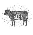 Vintage premium beef typographic label vector image