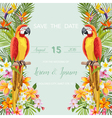 Wedding Card Tropical Flowers Parrot Bird vector image vector image