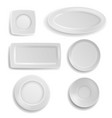 white plates set clean realistic ceramic vector image