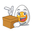 with box character hard boiled egg ready to eat vector image