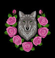 wolf and roses embroidery vector image vector image