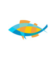 Fish logo template Color lines with flattened vector image