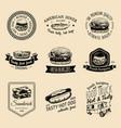 vintage fast food logo set retro quick vector image