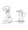 A chef is frying fish vector image vector image