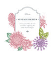 badge design with pastel african daisies fuchsia vector image vector image