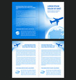 booklet book airplane flight tickets air fly vector image vector image