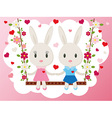 Bunnies on a swing card vector image vector image