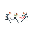 business people running to finish line team vector image