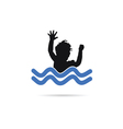 child in water silhouette vector image vector image