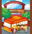children standing by schoolbus at school vector image vector image