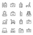 collection linear luggage icon vector image