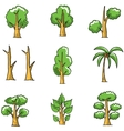 Collection of simple tree doodles vector image vector image