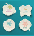 cute christmas labels or stickers with holiday vector image