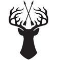 deer head with horns and crossed arrows vector image
