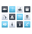 fishing and holiday icons over color background vector image vector image