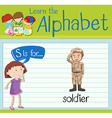 Flashcard letter S is for soldier vector image vector image
