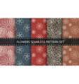 Flowers seamless pattern set vector image vector image