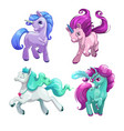 funny unicorns little cute cartoon pony princess vector image vector image