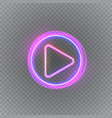 gloving neon music play button isolated vector image