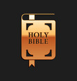 gold holy bible book icon isolated on black vector image vector image