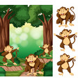 group of monkey in forest vector image vector image