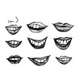hand drawn smiling lips vector image