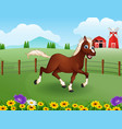 happy horse cartoon in the farm with green field vector image vector image