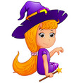 happy witch cartoon sitting vector image vector image