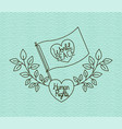 heart with flag and wreath peace message drawn vector image