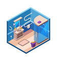 isometric modern bathroom interior vector image